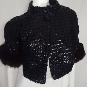 Vintage Sequins Fur cropped jacket S